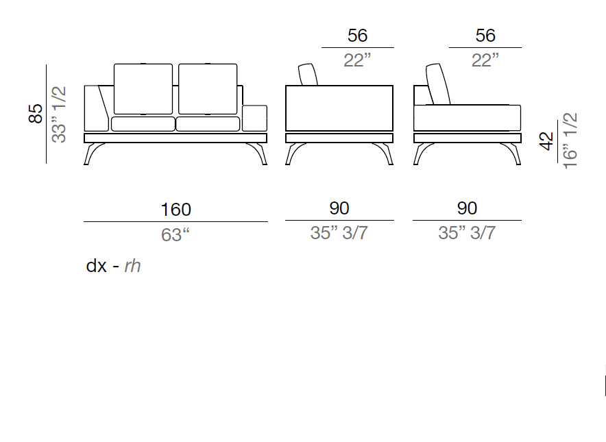 Mussi Acanto Sofa with low and high armrest  160 cm - AB160