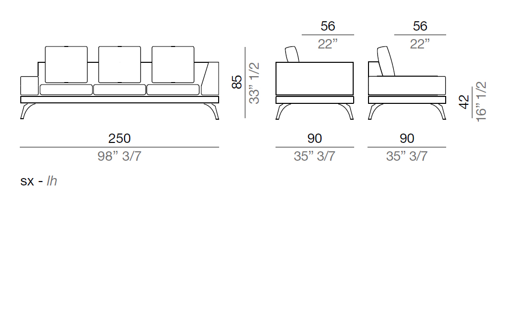 Mussi Acanto Sofa with low and high armrest  250 cm - AB250*