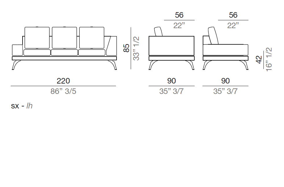 Mussi Acanto Sofa with low and high armrest  220 cm - AB3_220
