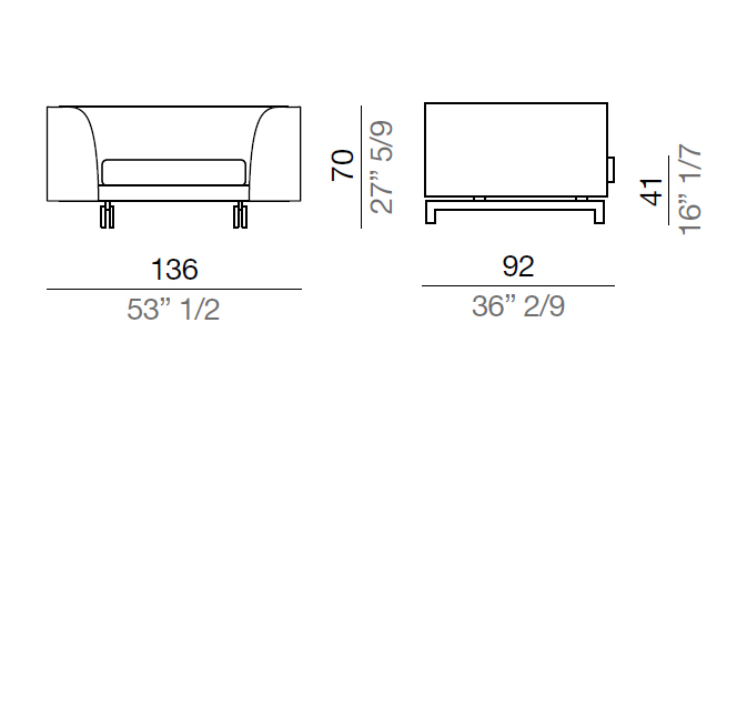 Mussi Alexander Sofa with high armrest 136 cm - AA136