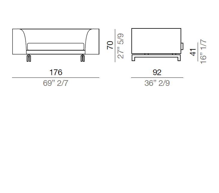 Mussi Alexander Sofa with high armrest 176 cm - AA176