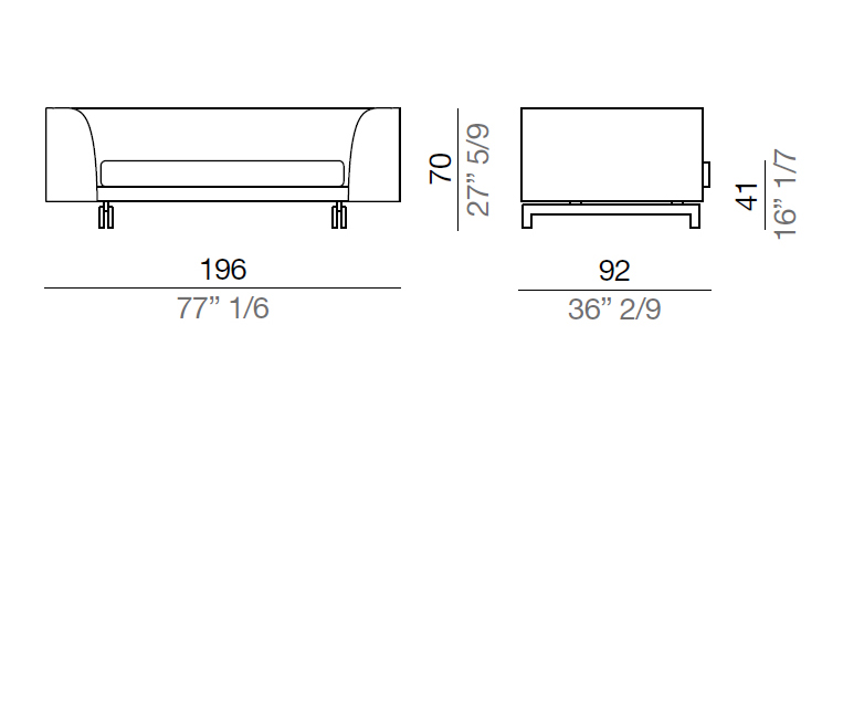 Mussi Alexander Sofa with high armrest 196 cm - AA196