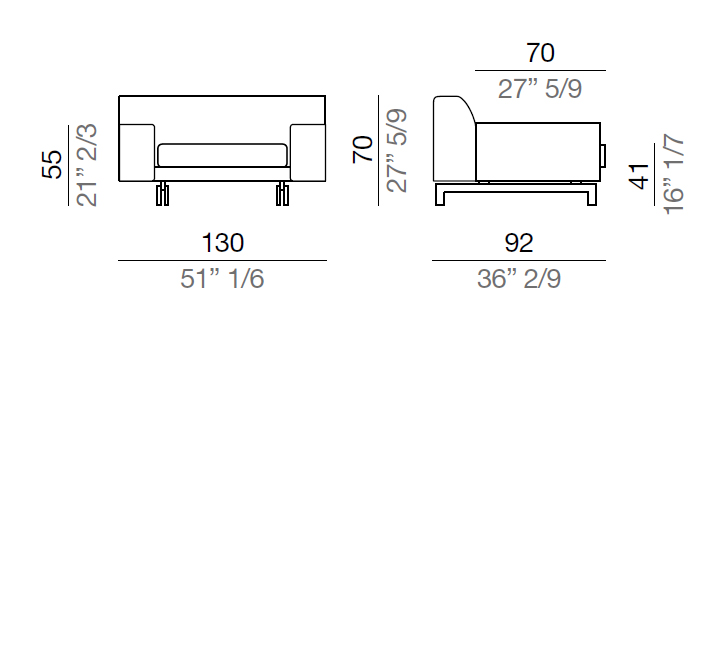 Mussi Alexander Sofa with low armrest  130 cm - D130
