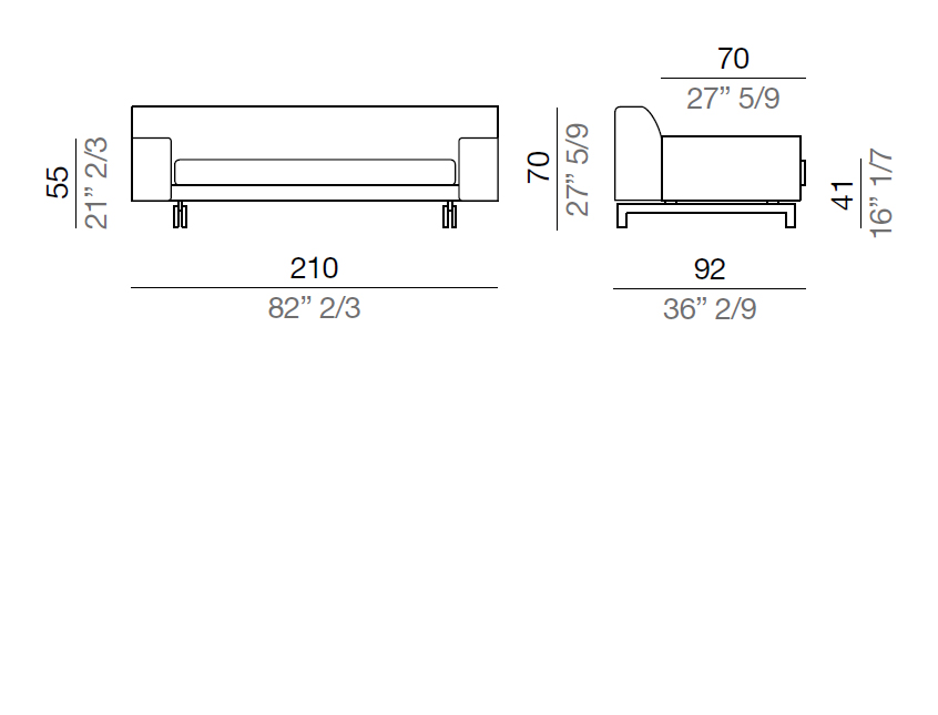 Mussi Alexander Sofa with low armrest 210 cm - D210