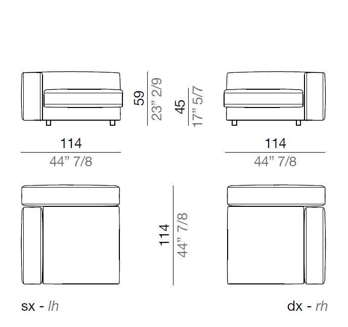 Mussi Sinfonia Sofa Sectional Element 114 cm - A114