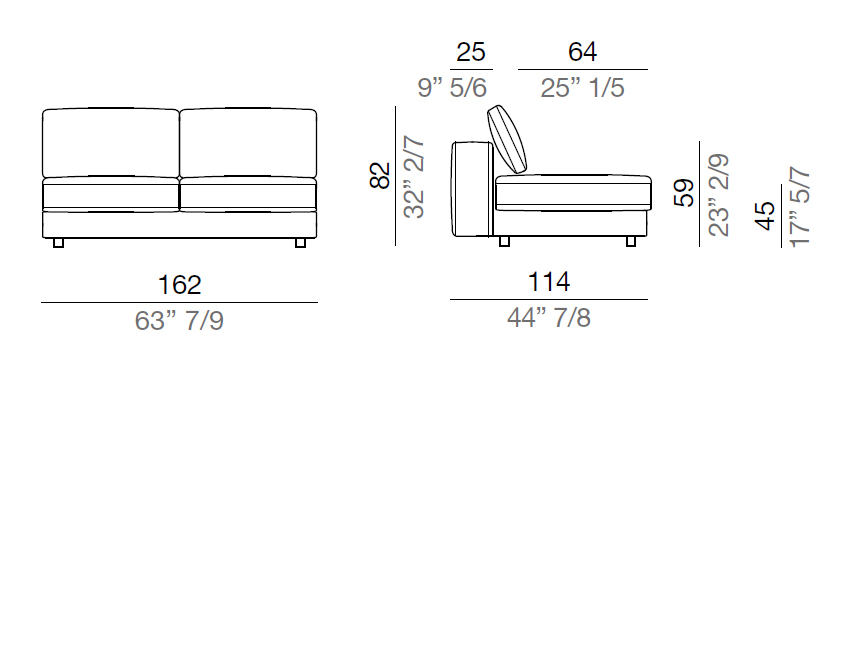 Mussi Sinfonia Sofa Central Element 162 cm - C162