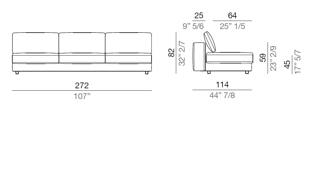 Mussi Sinfonia Sofa Central Element 242 cm - C242