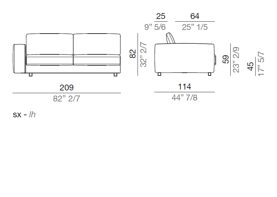 Mussi Sofa Terminal Element 209 cm - T209